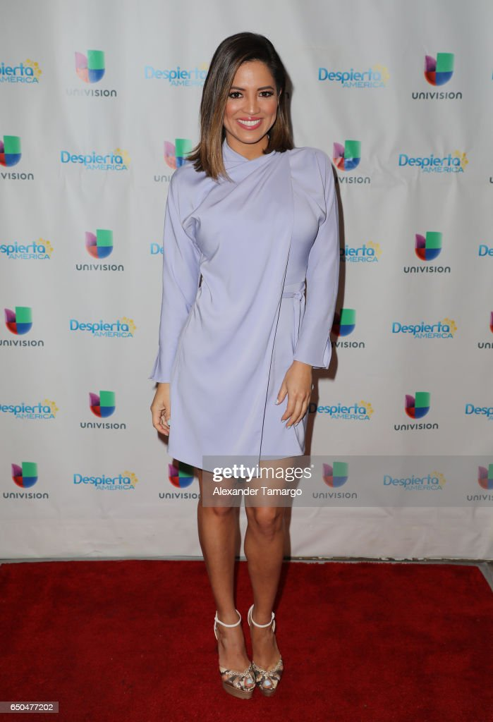 Pamela Silva is seen on the set of 'Despierta America' at Univision Studios on March 9, 2017 in Miami, Florida.