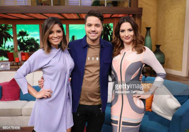 Pamela Silva William Valdes and Michelle Galvan are seen on the set of 'Despierta America' at Univision Studios on March 9 2017 in Miami Florida