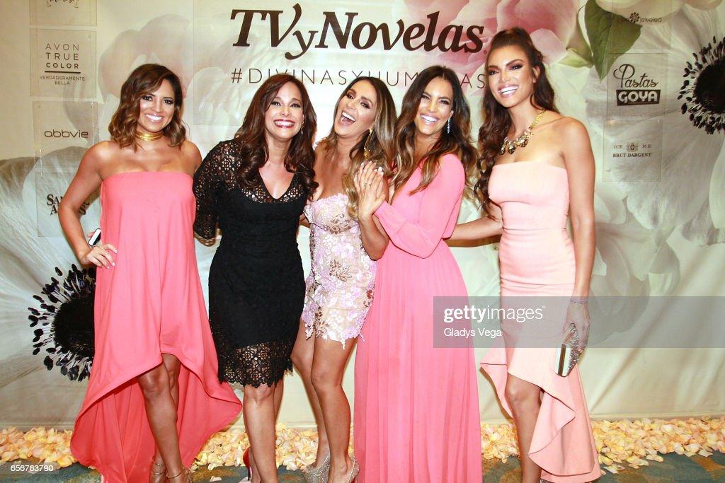 Pamela Silva-Conde, Alexandra Malagon, Catherine Siachoque, Gaby Espino and Zuleyka Rivera pose as part of TV y Novelas, 'Divinas y Humanas' special edition celebration on March 22, 2017 in San Juan, Puerto Rico.