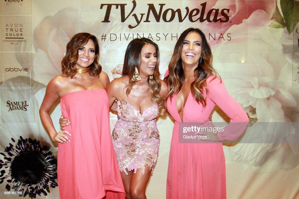 Pamela Silva-Conde, Catherine Siachoque and Gaby Espino pose as part of TV y Novelas, 'Divinas y Humanas' special edition celebration on March 22, 2017 in San Juan, Puerto Rico.
