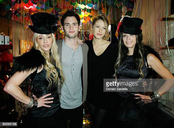 Pamela Skaist Levy actor Penn Badgley actress Blake Lively and Gela NashTaylor attend the Juicy Couture New York Boutique Opening on November 6 2008...