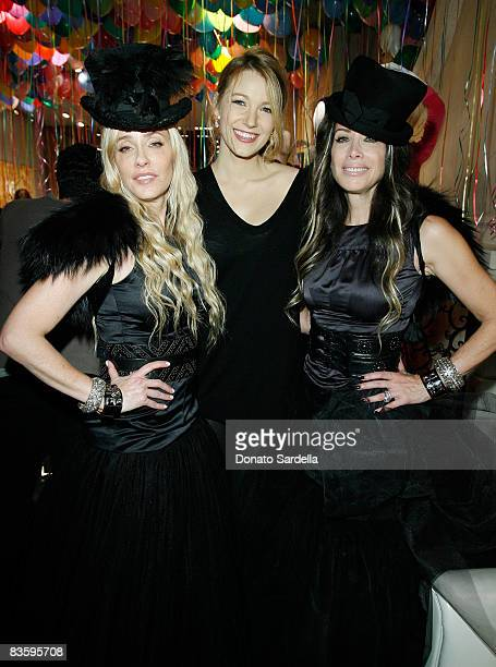 Pamela Skaist Levy actress Blake Lively and Gela NashTaylor attend the Juicy Couture New York Boutique Opening on November 6 2008 New York City New...