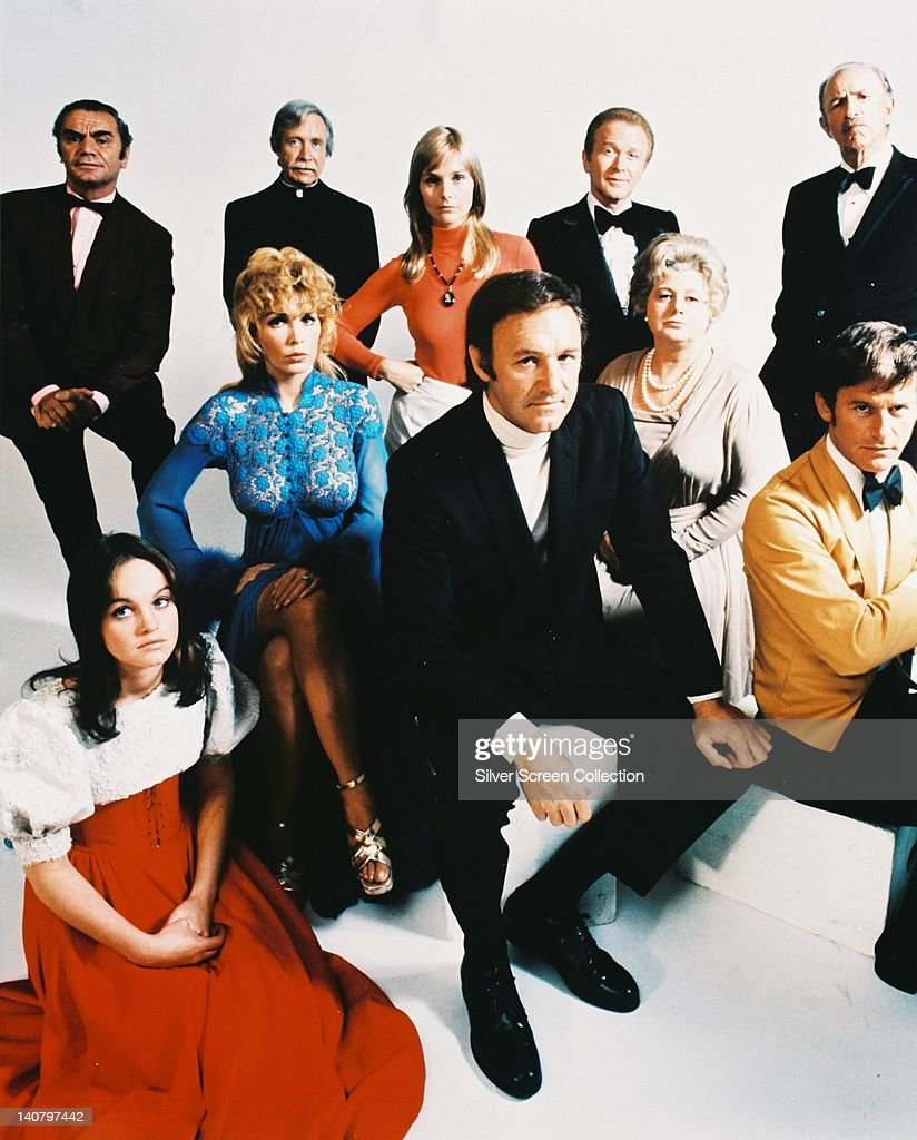 Pamela Sue Martin, US actress, Ernest Borgnine, US actor, Arthur O'Connell (1908-1981), US actor, Stella Stevens, US actress, Carol Lynley, US actress, Gene Hackman, US actor, Red Buttons (1919-2006), US actor, Shelley Winters (1920-2006), US actress, Jack Albertson (1907-1981), US actor and Roddy McDowall (1928-1998), British actor, all in costume in a group publicity portrait issued for the film, 'The Poseidon Adventure', 1972. The disaster film, directed by Ronald Neame (1911-2010) and Irwin Allen (1916-1991), starred Martin as 'Susan', Borgnine as 'Rogo', O'Connell as 'Chaplain John', Stevens as 'Linda Rogo', Lynley as 'Nonnie Parry', Hackman as 'Reverend Scott', Buttons as 'James Martin', Winters as 'Belle Rosen', Albertson as 'Manny Rosen', and McDowall as 'Acres'.