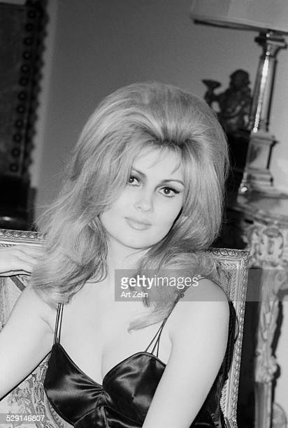 Pamela Tiffin in a satin slip dress circa 1970 New York