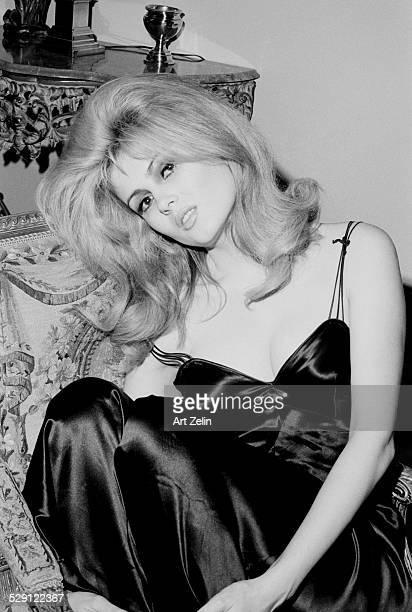 Pamela Tiffin wearing a satin gown circa 1970 New York