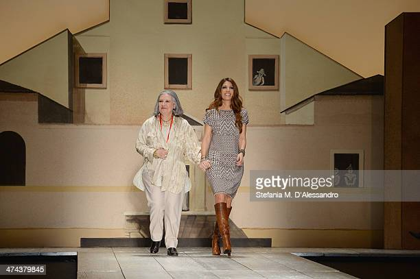 Pamela Villoresi and Laura Biagiotti walk the runway during the Laura Biagiotti show as part of Milan Fashion Week Womenswear Autumn/Winter 2014 on...