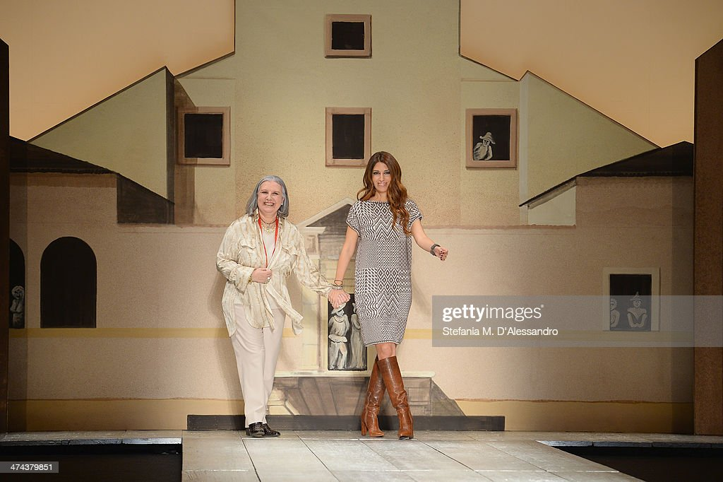 Pamela Villoresi and Laura Biagiotti walk the runway during the Laura Biagiotti show as part of Milan Fashion Week Womenswear Autumn/Winter 2014 on February 23, 2014 in Milan, Italy.