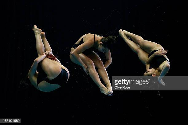 Pamela Ware of Canada competes in the Women's 3m Springboard Final during day two of the FINA/Midea Diving World Series 2013 at the Royal...