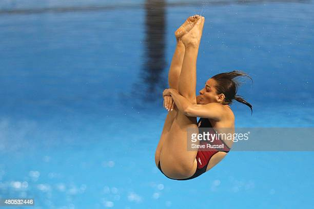 TORONTO ON JULY 12 Pamela Ware somersaults in the pike position she would win the silver medal in the women's 3 metre springboard diving finals at...