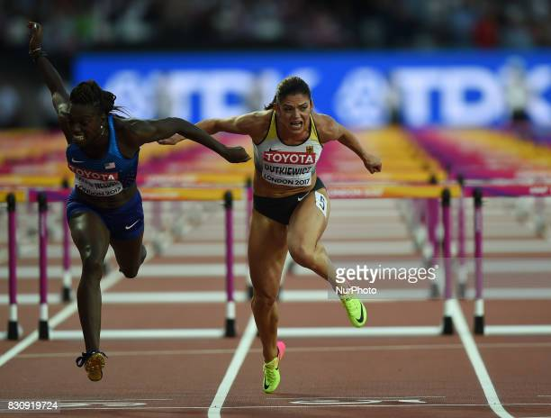 PamelaDutkiewicz of Germany DawnHarper Nelsonof USA compete in the 100 meter hurdles final in London at the 2017 IAAF World Championships athletics