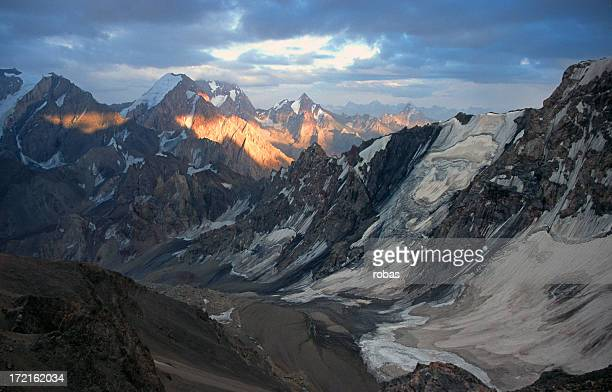 Pamir mountains with a slow sunrise
