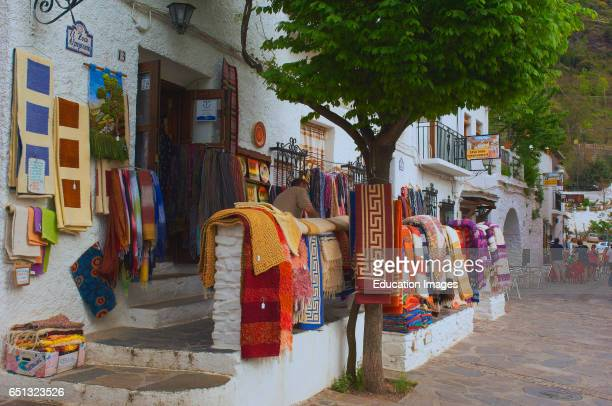 Pampaneira Typical blankets Alpujarras Mountains area Granada province Andalusia Spain