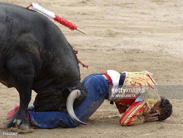 Spanish matador Antonio Ferrera is gored by a Victorino Martin fighting bull 14 July 2006 during the last corrida of the San Fermin festivities in...