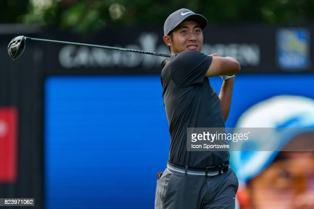T Pan drives a tee shot during first round action of the RBC Canadian Open on July 27 at Glen Abbey Golf Club in Oakville ON Canada