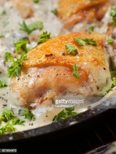 Pan Fried Chicken in Mushroom Cream Sauce