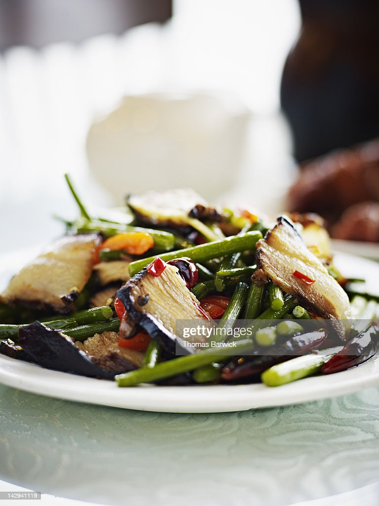 Pan fried green beans with pork : Stock Photo
