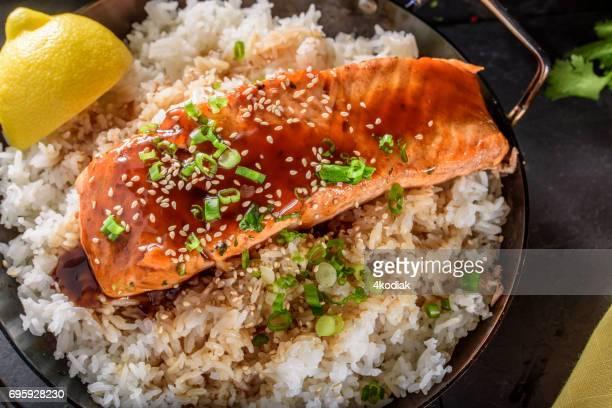 Pan Fried Salmon Steak with Teriyaki Sauce over Rice