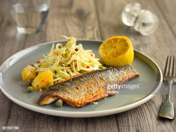 Pan fried sea bass fillet with fennel and orange salsa