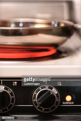 Pan heating on electric stove