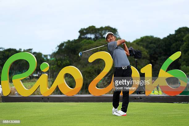 T Pan of Chinese Taipei plays his shot from the 16th tee during the first round of men's golf on Day 6 of the Rio 2016 Olympics at the Olympic Golf...
