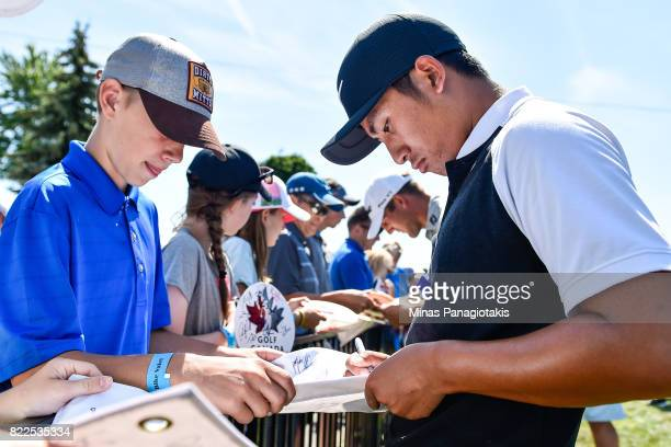 T Pan of Chinese Taipei signs autographs during the practice round of the RBC Canadian Open at Glen Abbey Golf Course on July 25 2017 in Oakville...