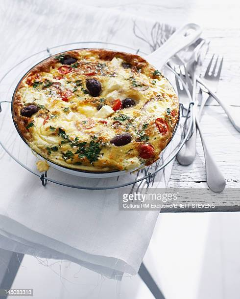 Pan of Greek salad fritatta