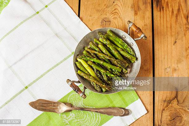Pan of grilled asparagus