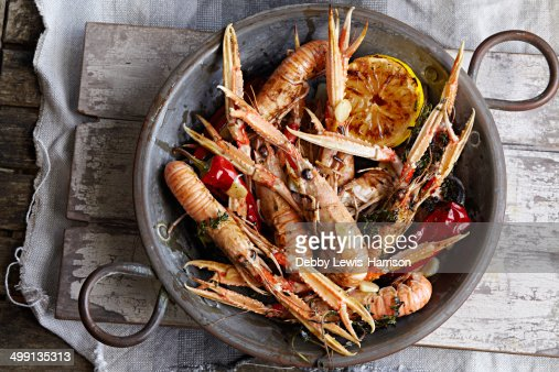 Pan of king prawns