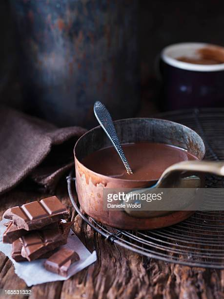 Pan of melted chocolate
