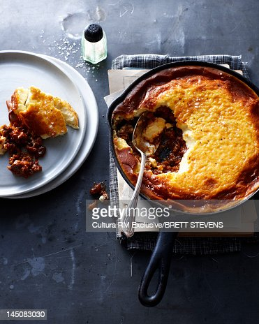 Pan of potato and meat pie