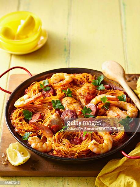 Pan of prawns chicken and chorizo
