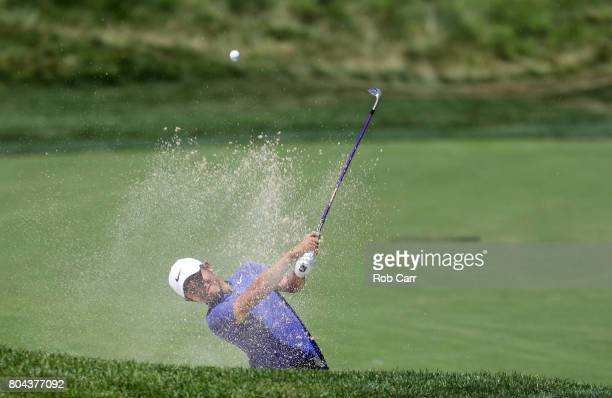 T Pan of Taipei plays a shot from a bunker on the tenth hole during the second round of the Quicken Loans National on June 30 2017 TPC Potomac in...