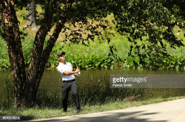 T Pan of Taipei plays a shot on the fifth hole during the second round of the Quicken Loans National on June 30 2017 TPC Potomac in Potomac Maryland