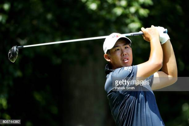 T Pan of Taipei plays his shot from the eighth tee during the final round of the Quicken Loans National on July 2 2017 TPC Potomac in Potomac Maryland