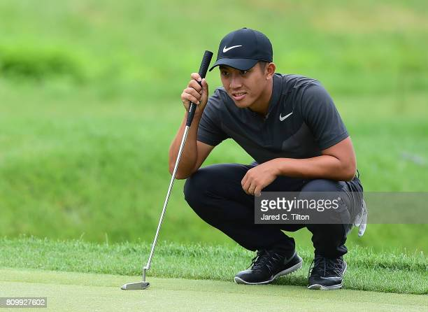 T Pan of Taiwan lines up his birdie putt on the 15th green during round one of The Greenbrier Classic held at the Old White TPC on July 6 2017 in...