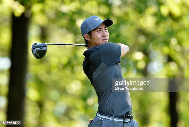 T Pan of Taiwan plays his shot from the 11th tee during round one of the RBC Canadian Open at Glen Abbey Golf Club on July 27 2017 in Oakville Canada