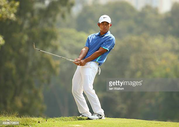 Pan of Taiwan reacts to a chip on the 4th green during the first round of the UBS Hong Kong Open at The Hong Kong Golf Club on October 22 2015 in...
