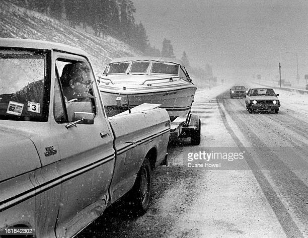 OCT 9 1982 Pan Sandoval of Denver had his pickup and boat stalled by ice on the road just east of the Eisen hower Tunnel He was westbound on his...