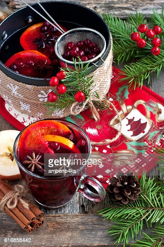 pan with tasty mulled wine on  rustic wooden table : Stock Photo