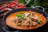 Dried red pork coconut curry, Thai cuisine