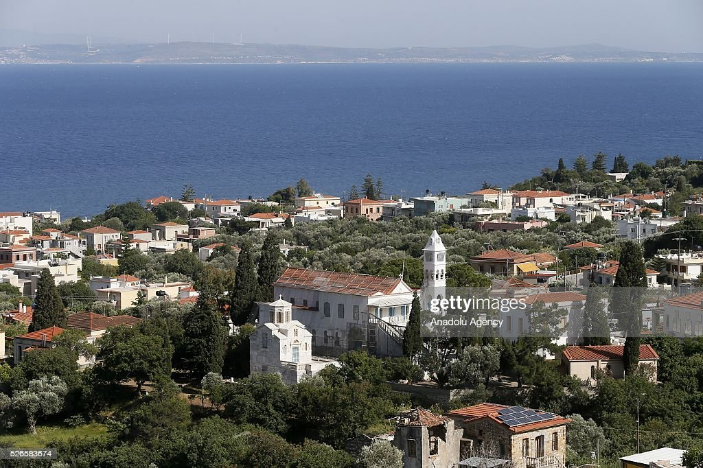 Panaghia Erithiani Church is seen in Chios Island, Greece on April 30, 2016. Greek Orthodox Easter celebration 'Rocket War' which takes place between two local churches of Panaghia Erithiani and Aghios Marko at the Vrontados village is cancelled after some villagers had complained about the fireworks.