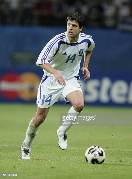 Panagiotis Fyssas of Grecce runs with the ball during the match between Greece and Mexico for the FIFA Confederations Cup 2005 at the Commerzbank...