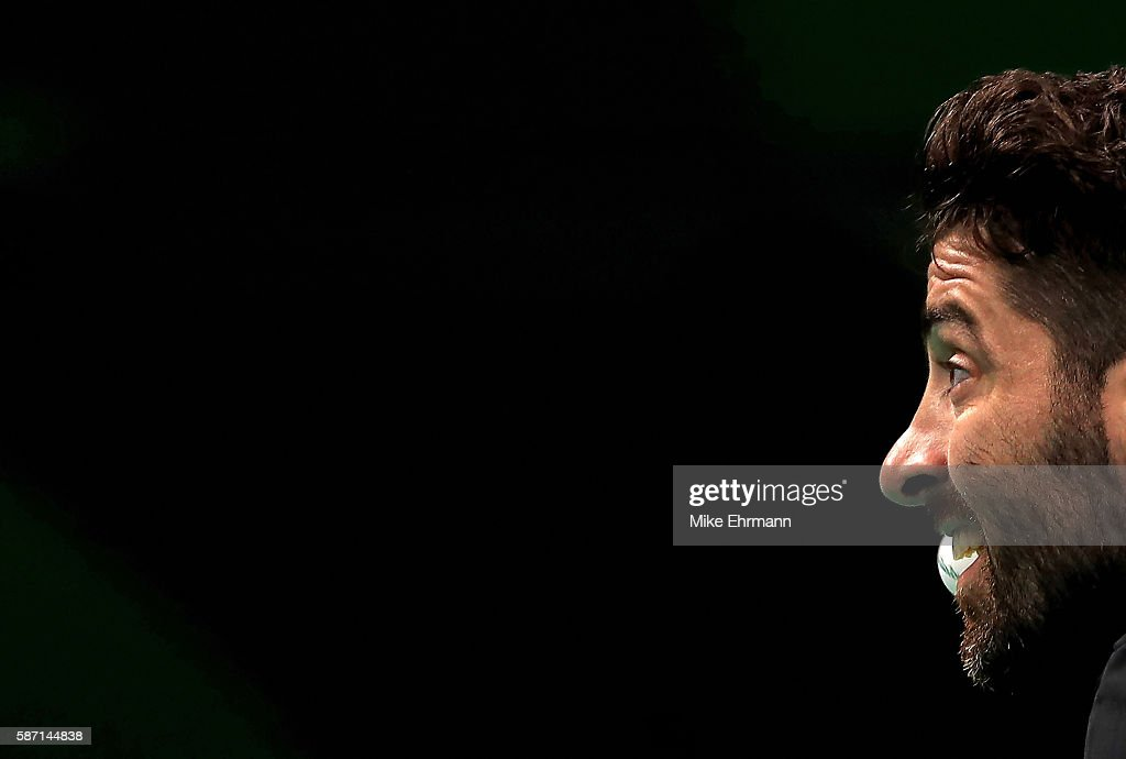 Panagiotis Gionis of Greeceplays a Men's Singles third round match against Jun Mizutani of Japan on Day 2 of the Rio 2016 Olympic Games at Riocentro - Pavilion 3 on August 7, 2016 in Rio de Janeiro, Brazil.