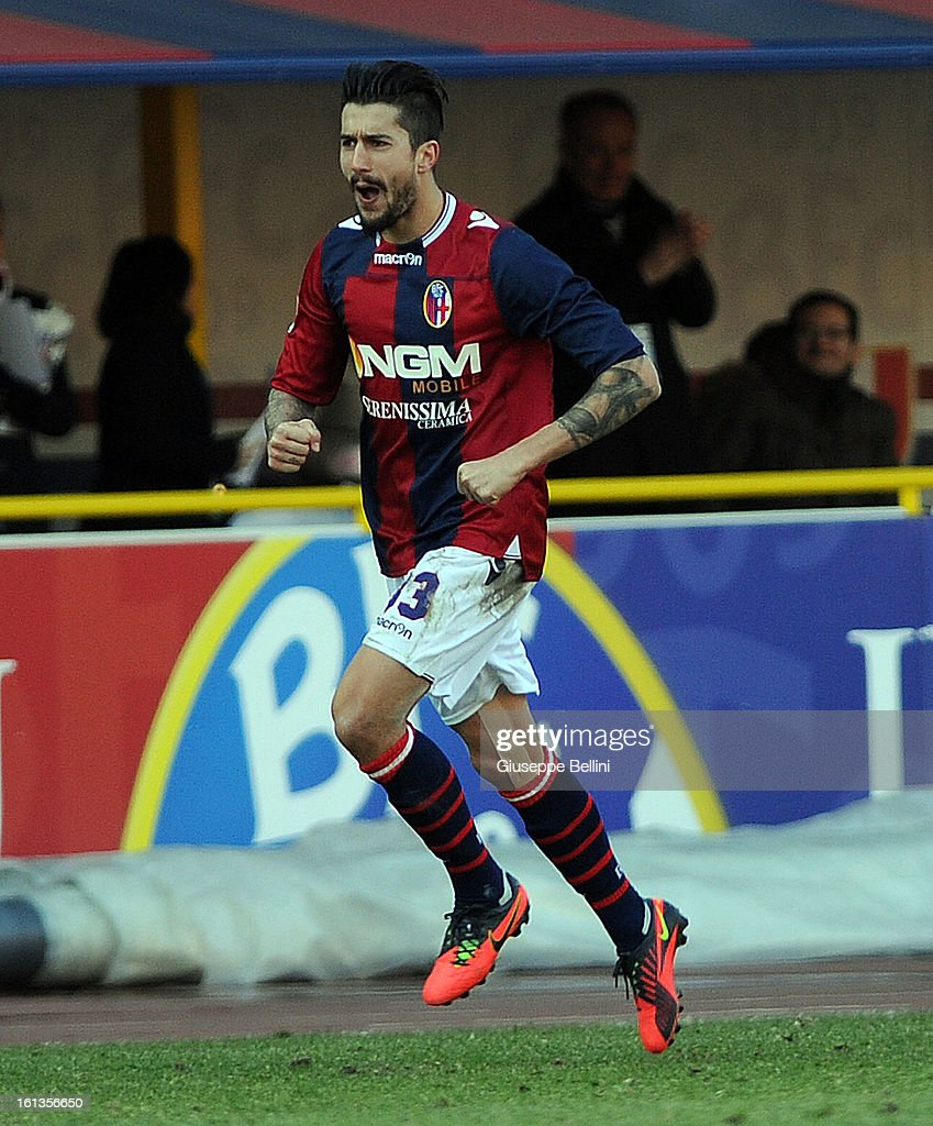 Panagiotis Kone of Bologna celebrates after scoring the goal 1-1 during the Serie A match between Bologna FC and AC Siena at Stadio Renato Dall'Ara on February 10, 2013 in Bologna, Italy.