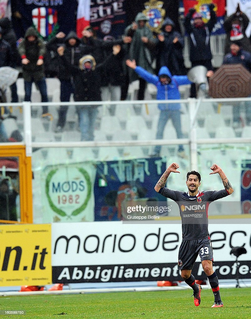 Panagiotis Kone of Bologna celebrates after scoring the goal 2-3 during the Serie A match between Pescara and Bologna FC at Adriatico Stadium on February 3, 2013 in Pescara, Italy.