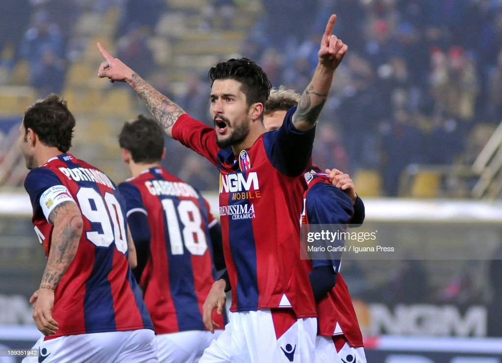 Panagiotis Kone # 33 of Bologna FC celebrates after scoring his team's first goal during the Serie A match between Bologna FC and AC Chievo Verona at Stadio Renato Dall'Ara on January 12, 2013 in Bologna, Italy.