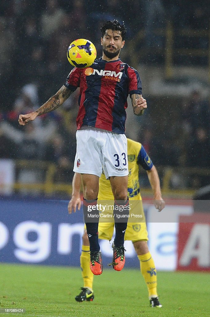 Panagiotis Kone # 33 of Bologna FC in action during the Serie A match between Bologna FC and AC Chievo Verona at Stadio Renato Dall'Ara on November 4, 2013 in Bologna, Italy.