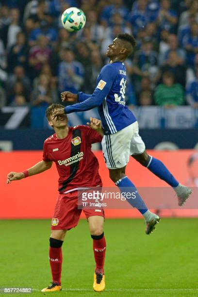 Panagiotis Retsos of Leverkusen and Breel Embolo of Schalke battle for the ball during the Bundesliga match between FC Schalke 04 and Bayer 04...