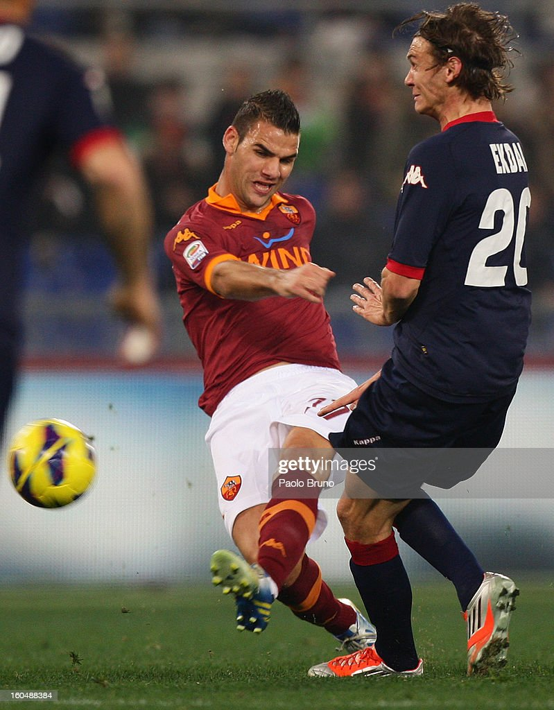 Panagiotis Tachtsidis (L) of AS Roma competes for the ball with Albin Ekdal of Cagliari Calcio during the Serie A match between AS Roma and Cagliari Calcio at Stadio Olimpico on February 1, 2013 in Rome, Italy.
