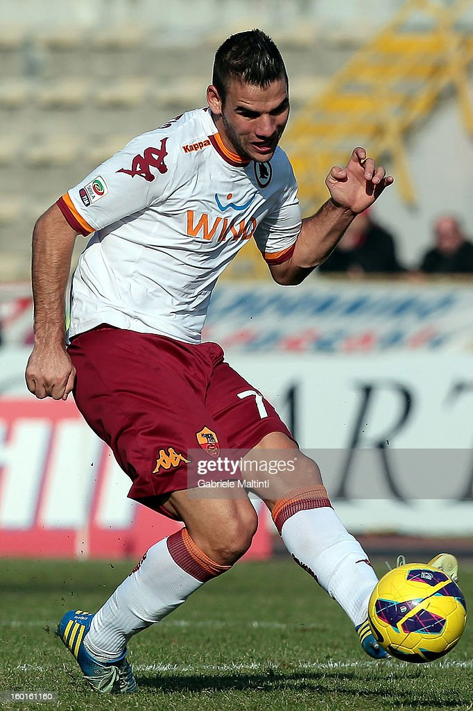 <a gi-track='captionPersonalityLinkClicked' href=/galleries/search?phrase=Panagiotis+Tachtsidis&family=editorial&specificpeople=6240627 ng-click='$event.stopPropagation()'>Panagiotis Tachtsidis</a> of AS Roma in action during the Serie A match between Bologna FC and AS Roma at Stadio Renato Dall'Ara on January 27, 2013 in Bologna, Italy.